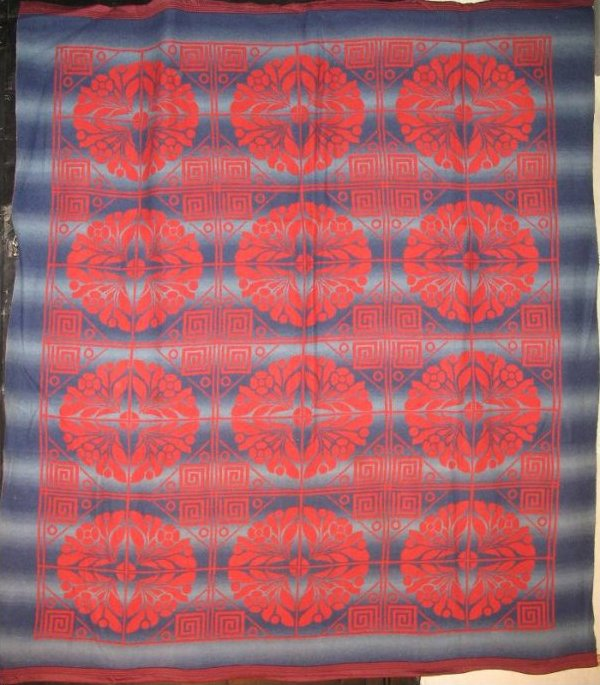 BEACON VINTAGE BLANKET 12 medallions,navy blue and red