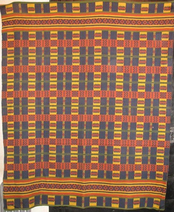 BEACON VINTAGE BLANKET intricate plaid with Indian geometrics