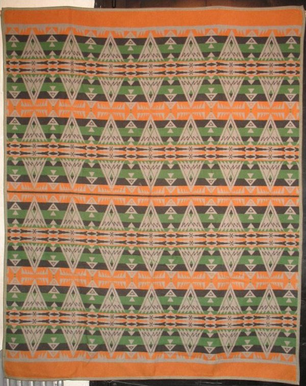 BEACON VINTAGE BLANKET green, grey, cheddar triangles Indian geometrics