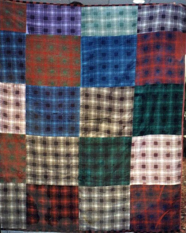 CORDUROY PLAIDS ONE PATCH VINTAGE PIECED QUILT
