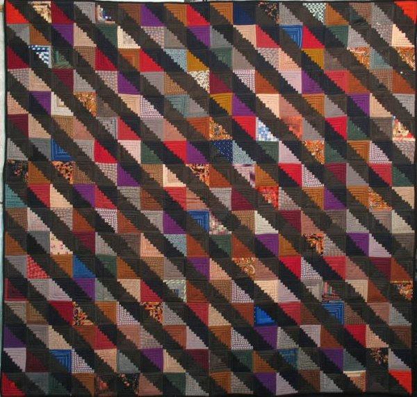 LOG CABIN STRAIGHT FURROW ANTIQUE QUILT jewel tones and black challis