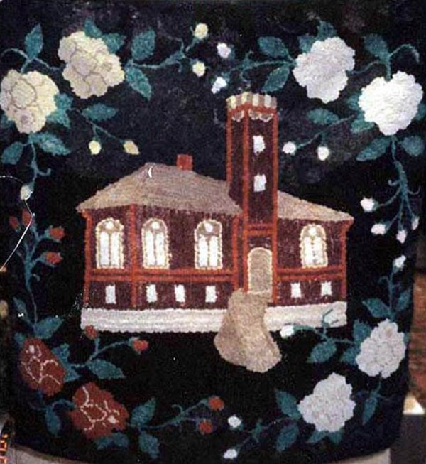 SCHOOLHOUSE SURROUNDED WITH WHITE ROSES ANTIQUE HOOKED RUG