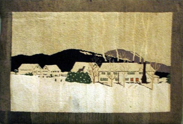 TREMBLAY (artist) VINTAGE HOOKED RUG - WINTER SCENE, houses in snow
