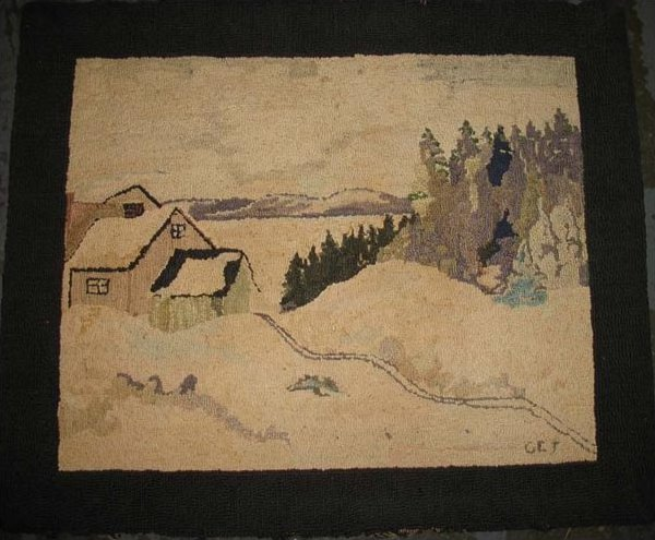TREMBLAY (artist) VINTAGE HOOKED RUG - A HOUSE IN SNOW