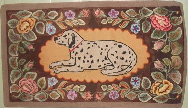 DOG IN A FLORAL BORDER ANTIQUE HOOKED RUG, DALMATIAN, probably Frost pattern