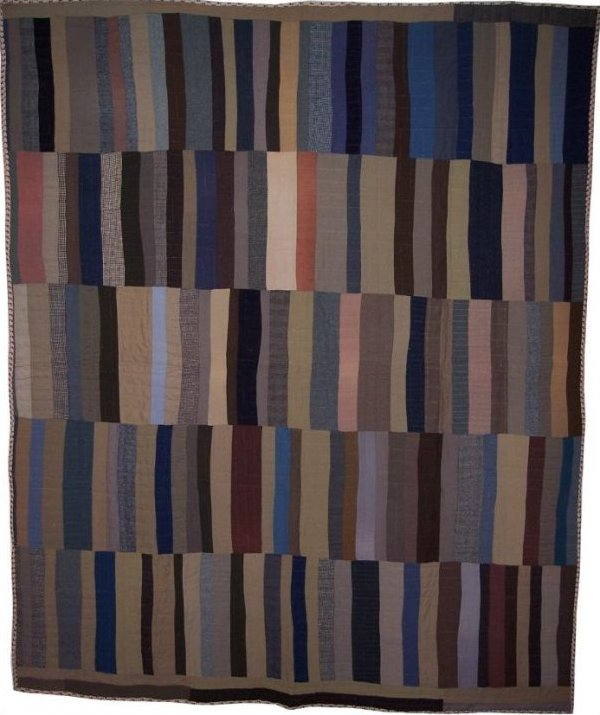 STRIP BARS WOOL ANTIQUE QUILT, five panels