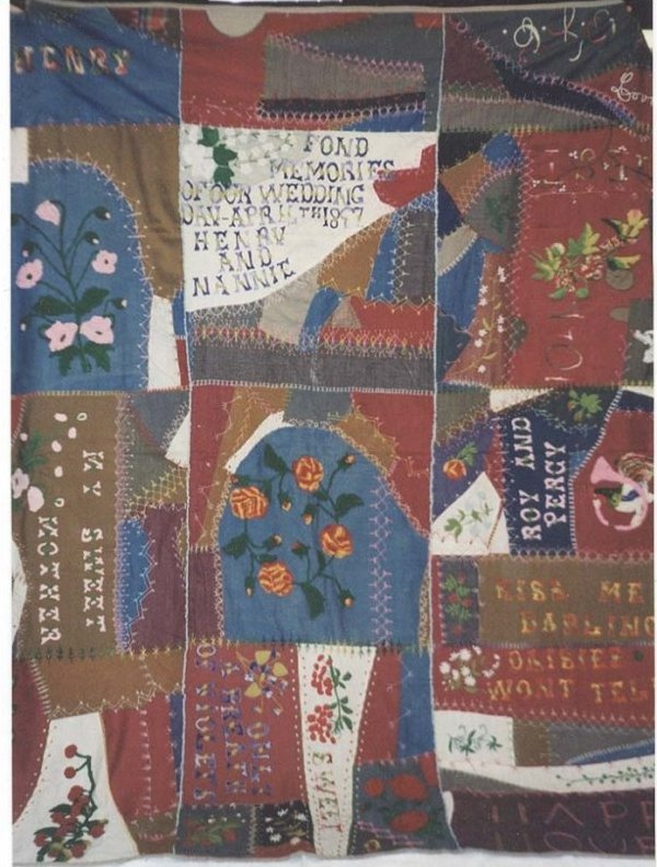MARRIAGE SENTIMENTS ANTIQUE CRAZY QUILT