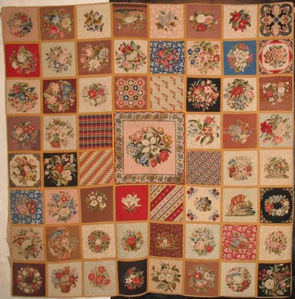 NEEDLEPOINT ANTIQUE RUG with SAMPLER BLOCKS