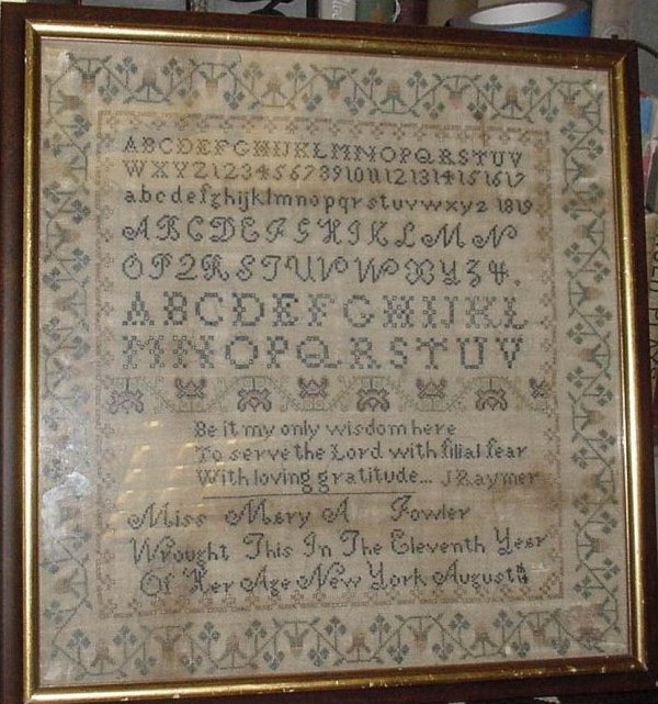 ANTIQUE SAMPLER, MARY FOWLER, NEW YORK 1827