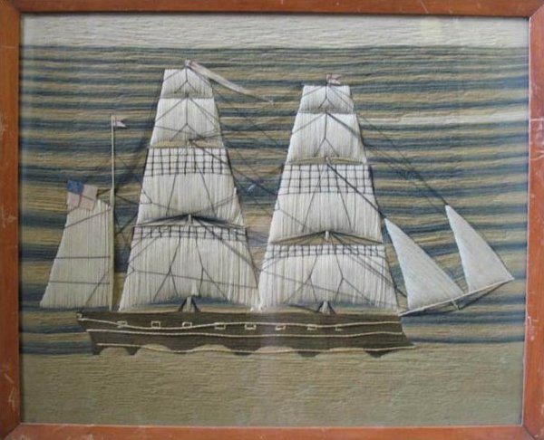 SAILOR'S WOOLIE ANTIQUE NEEDLEWORK PICTURE