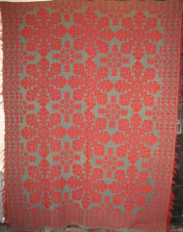 LANCASTER CO, PA JACQUARD DOUBLECLOTH RED AND TEAL ANTIQUE COVERLET
