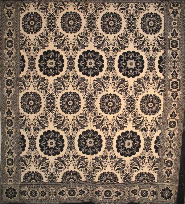 E. SNYDER 1850, NY STATE ANTIQUE JACQUARD COVERLET