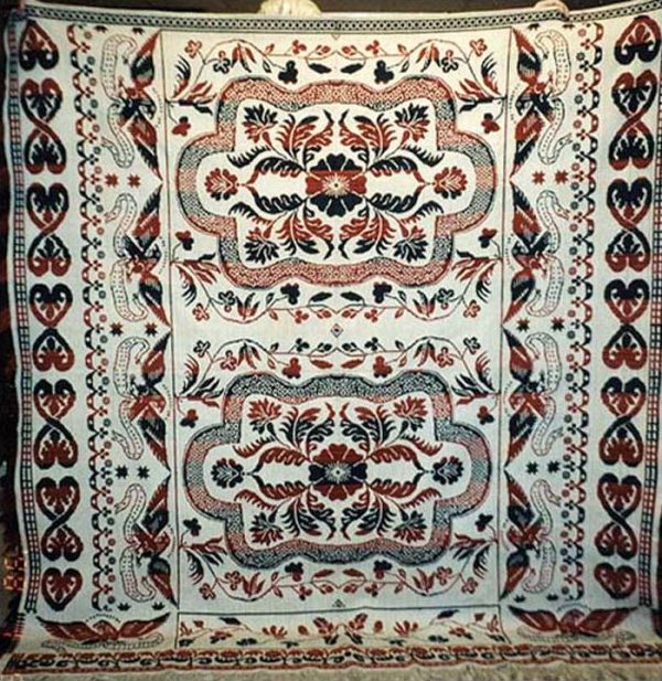 EAGLES AND HEARTS PA. BIEDERWAND ANTIQUE COVERLET