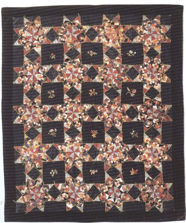 TOUCHING STARS CRAZY-TYPE ANTIQUE QUILT, embroidered flowers