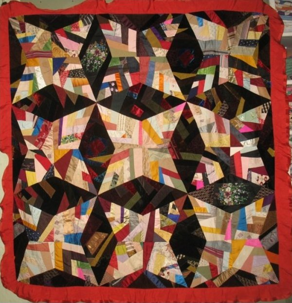 FOUR POINT STAR or ROCKY ROAD ANTIQUE QUILT, silk