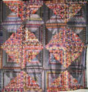 LOG CABIN LIGHT AND DARK PLAIDS ANTIQUE QUILT TOP