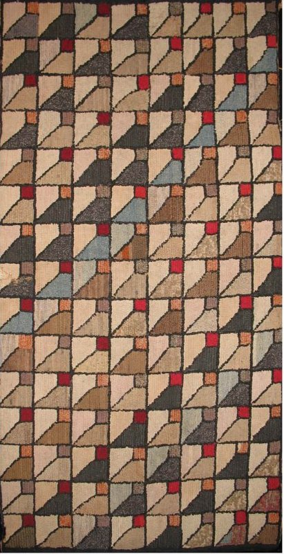 BISECTED SQUARES ANTIQUE HOOKED RUG
