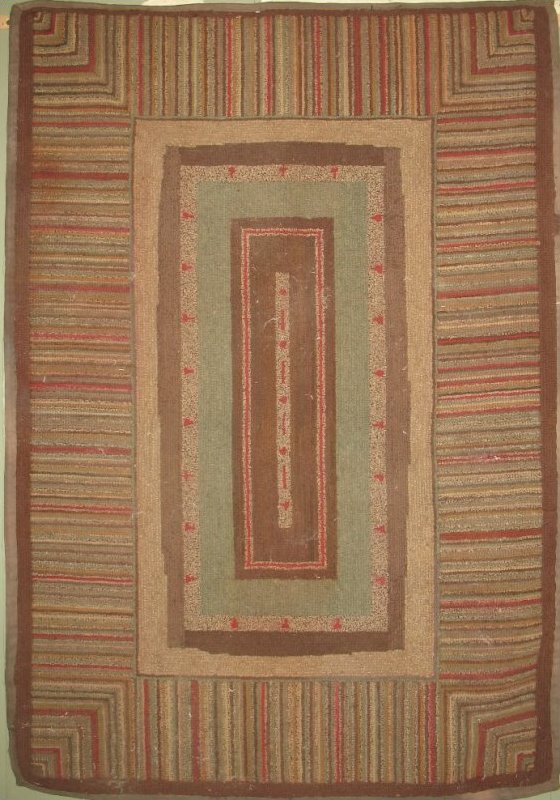 CONCENTRIC RECTANGULAR MEDALLION, STRIPED BORDER ANTIQUE HOOKED RUG