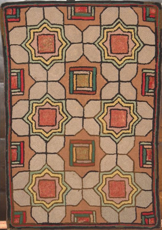 TILE MEDALLIONS ANTIQUE HOOKED RUG