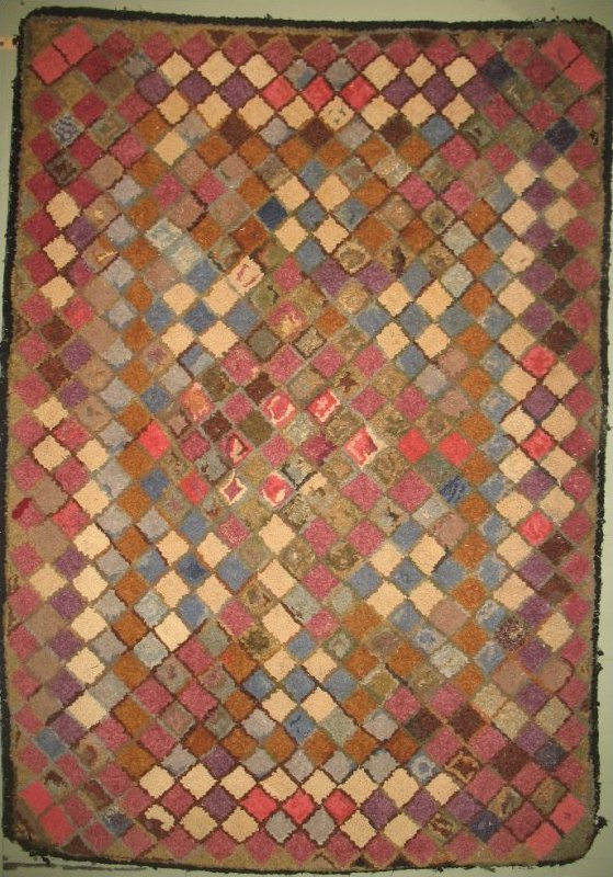 9 PATCH WEATHERED BRICKS ANTIQUE HOOKED RUG
