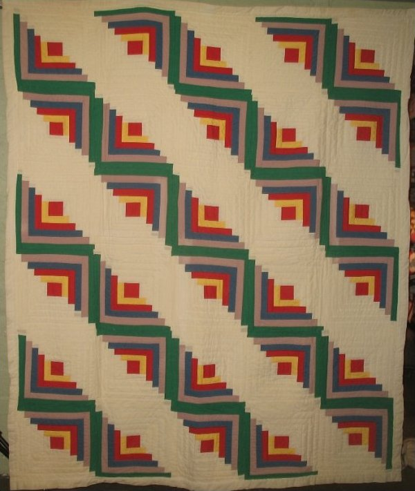 LOG CABIN STRAIGHT FURROW VINTAGE PIECED QUILT, solid color cottons with white