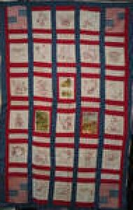 AMERICAN FLAGS STORYBOOK ANTIQUE TRUNDLE QUILT