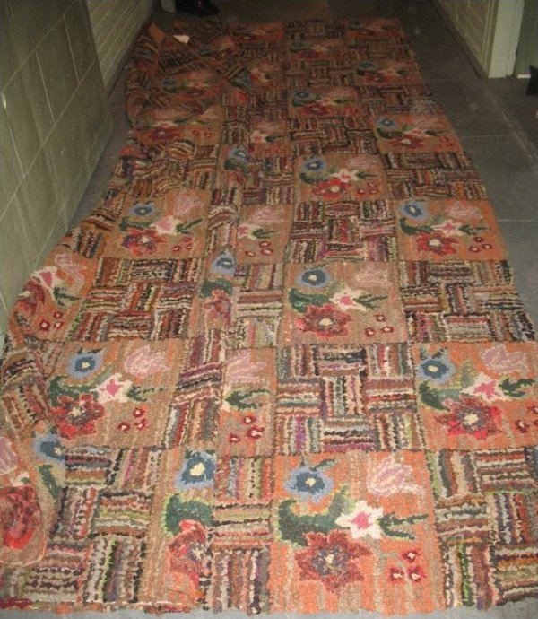 Basketweave And Floral Squares Antique Room Size Hooked Rug