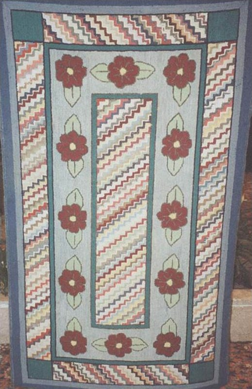 RED ROSES AND DIAGONAL STRIPED FIELD ANTIQUE HOOKED RUG