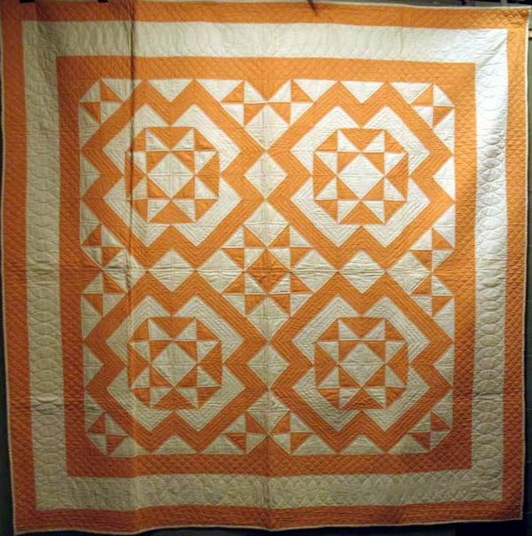 SHOOFLY ANTIQUE QUILT tangerine and white