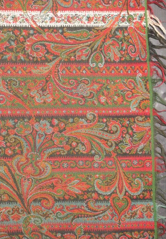 PAISLEY ANTIQUE RECTANGULAR SHAWL, STRIPED