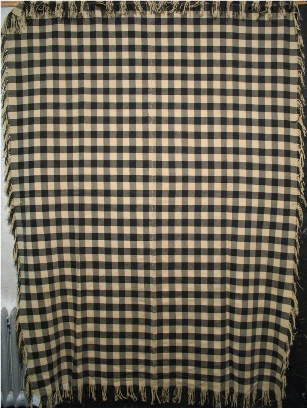 BLACK AND WHITE CHECK ANTIQUE BLANKET, SHAWL
