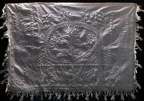 TRAPUNTO WHITEWORK ANTIQUE PILLOW SHAM OR TABLE COVER