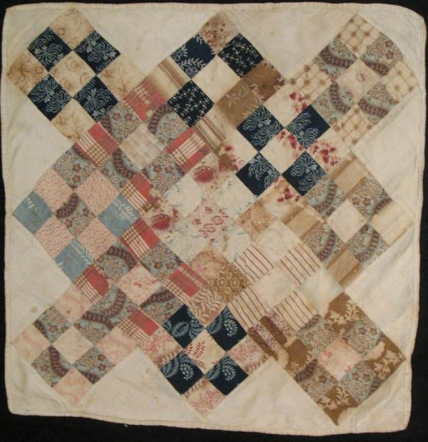 NINE PATCH DIAMONDS in an X FORMAT ANTIQUE CRIB QUILT