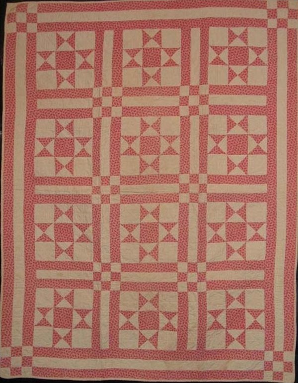 OHIO STARS or STAR OF THE EAST PIECED CRIB QUILT