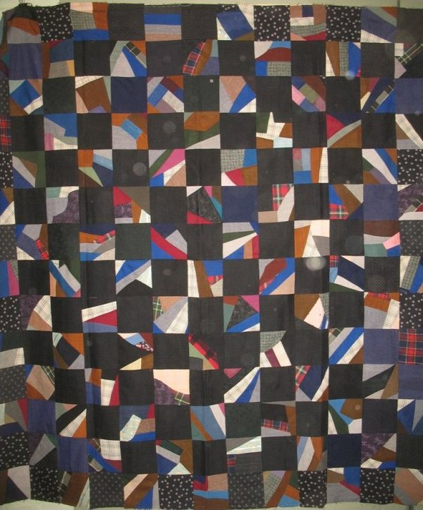 CRAZY AND SOLID SQUARES ANTIQUE  WOOL QUILT TOP