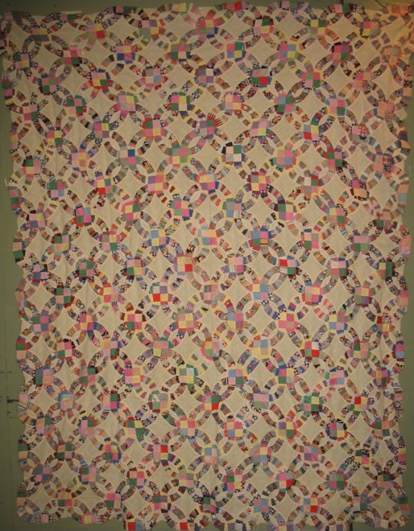 DOUBLE WEDDING RING VINTAGE QUILT TOP