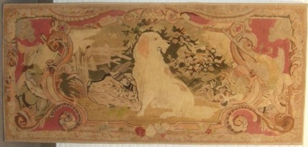 GOLDEN LAB (OR RETRIEVER) ANTIQUE HOOKED RUG