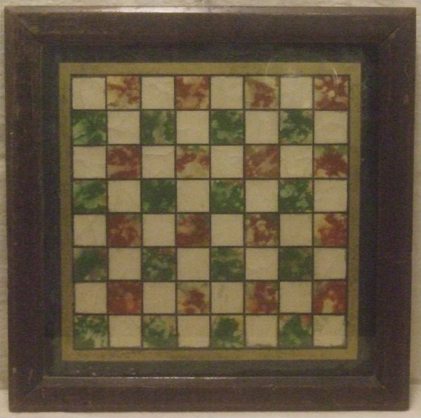 ANTIQUE GAMEBOARD - FAUX MARBLE REVERSE PAINTED GLASS IN FRAME