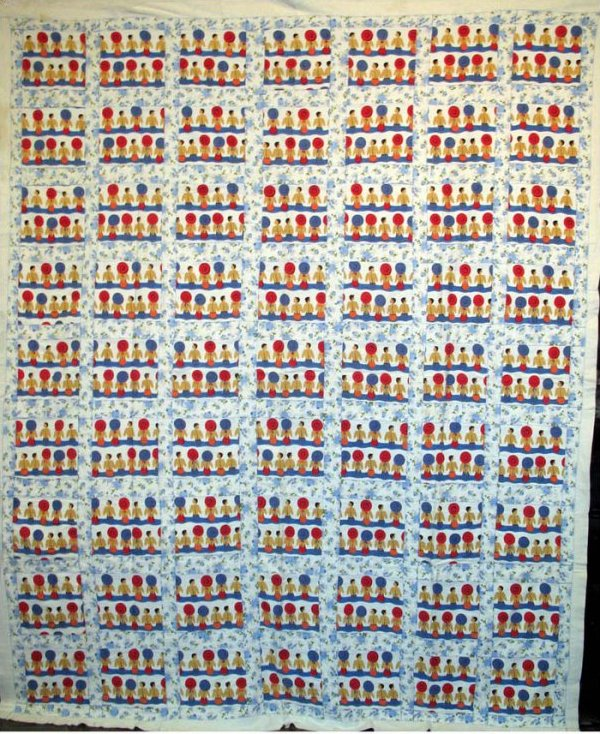 BATHERS ONE PATCH PIECED VINTAGE QUILT