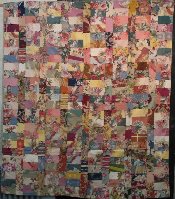 BARKCLOTH STRIP BARS VINTAGE PIECED QUILT
