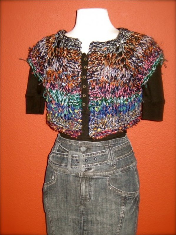 Oriental Shades of Blue, Rust and Grey Hand Knit Sweater