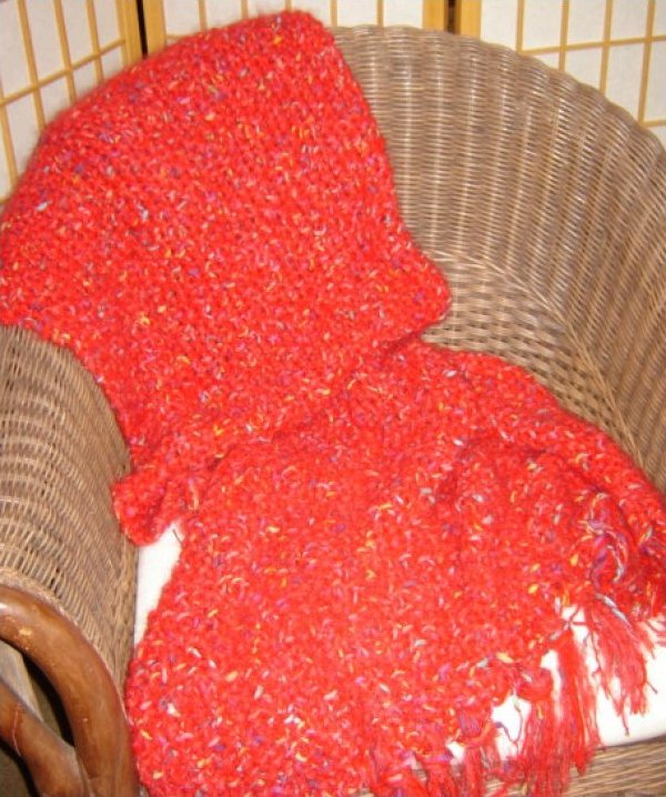 Three Strand Red Hand Knit Afghan