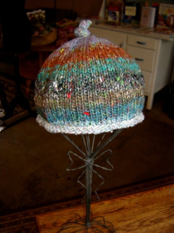 Furin Hand Knit Baby Hat green and brown