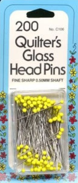 Quilters Glass Head Pins (fine)