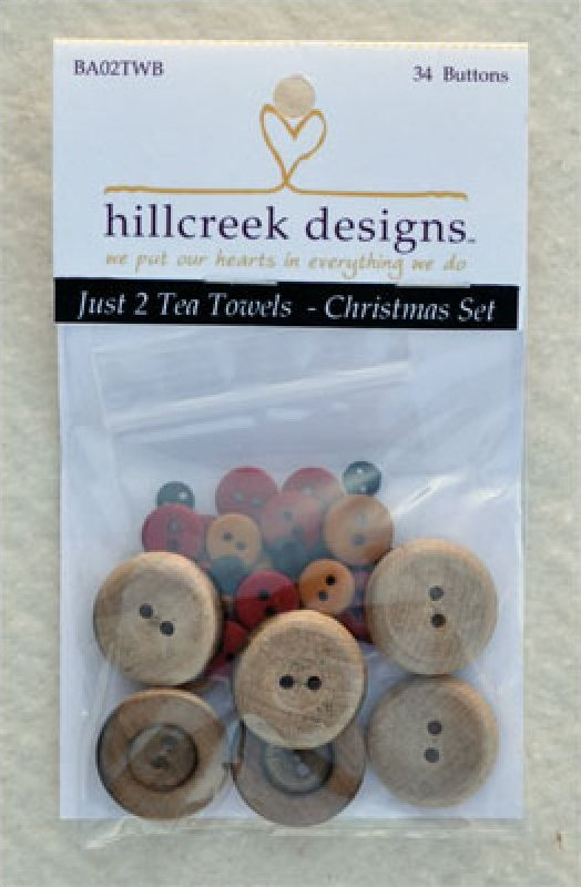 (HCD-BA02TWB)   Just 2 Tea Towels- Christmas Button Pack