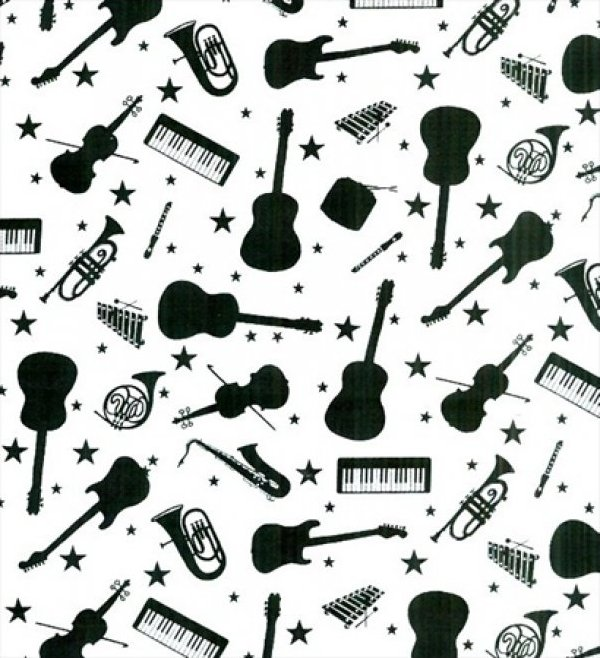 Blank Quilting - The Beat Goes On-Instruments - White-6177