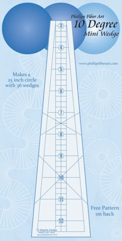 10 Degree Wedge-25'' Ruler by Phillips Fiber Arts - TDW