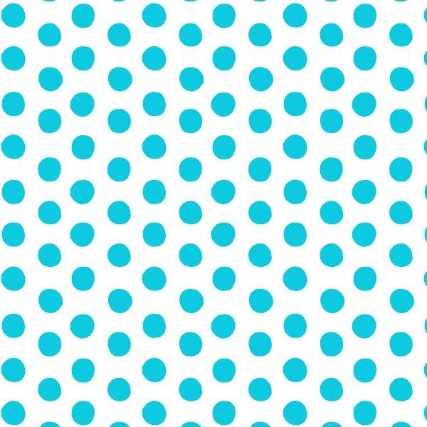 Remnant - 1/2 yard - Aqua Polka Dots on White Background (Maywood)