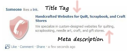 See title tag and meta description on Facebook posts.