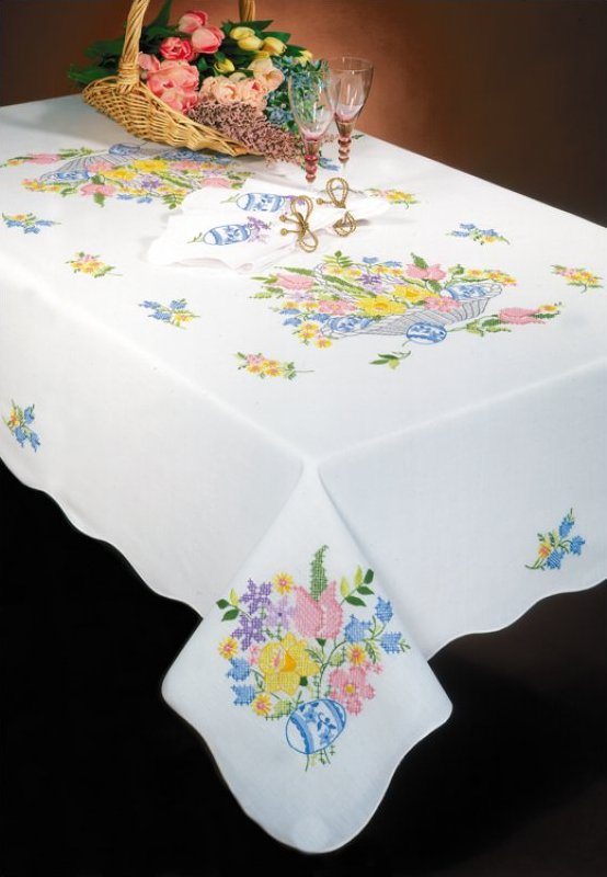 # T201925-58RD Easter Basket Tablecloth